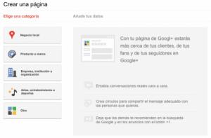 crear páginas en Google Plus