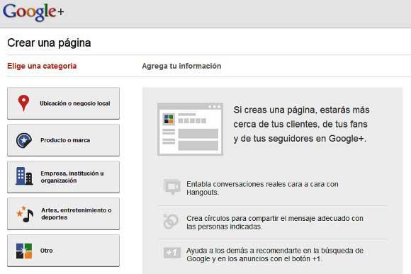 crear paginas en google plus